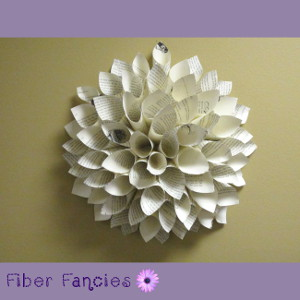 Paper Dahlia Wreath Wall Hanging from Upcycled Reclaimed Book Pages